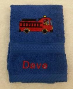 FIRE ENGINE PERSONALISED FACE CLOTH